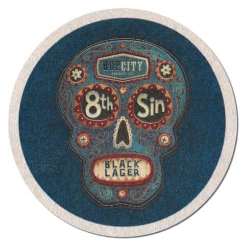8th Sin Black Lager Coaster
