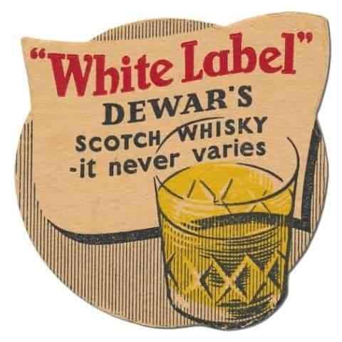 Dewars White Label Scotch Whisky Coaster Front