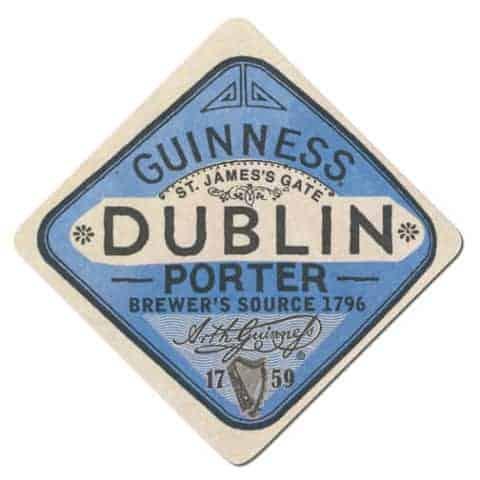 Guinness Dublin Porter Beer Mat Front