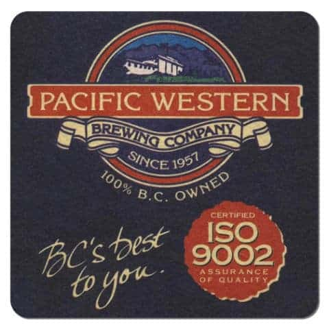 Pacific Western Brewing Company Beer Mat